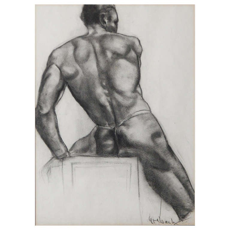"""Seated Black Nude,"" Important and Rare Drawing by John Grabach"