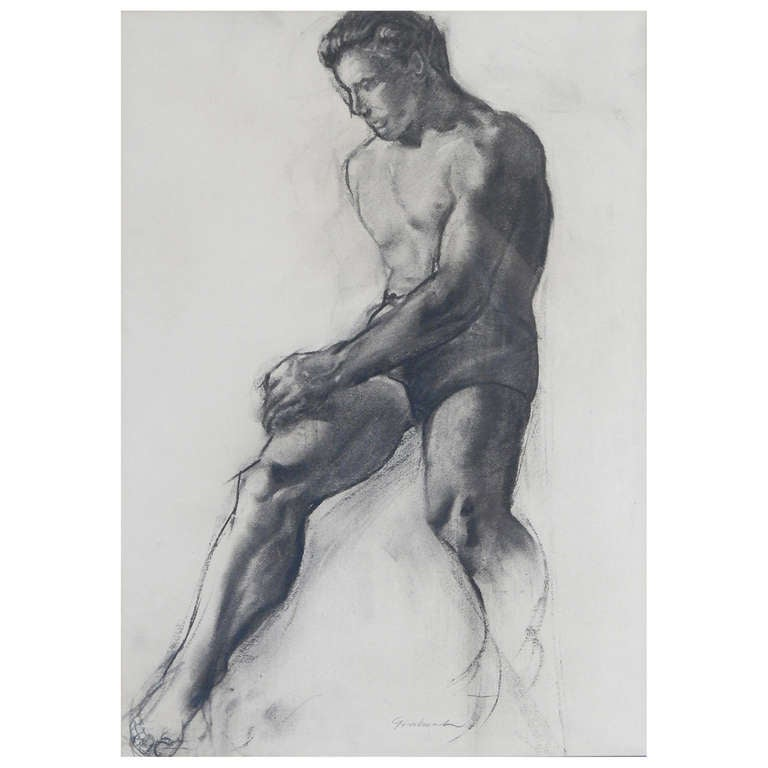 """""""Nude Study,"""" Rare and Important Drawing by John Grabach"""