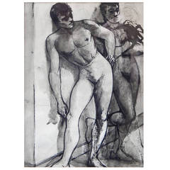 """Waiting Offstage,"" 1940s Ink Wash Drawing of Male Ballet Dancers"