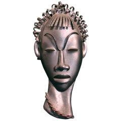 """African Head,"" Very Fine Art Deco Wall Sculpture by Casals"