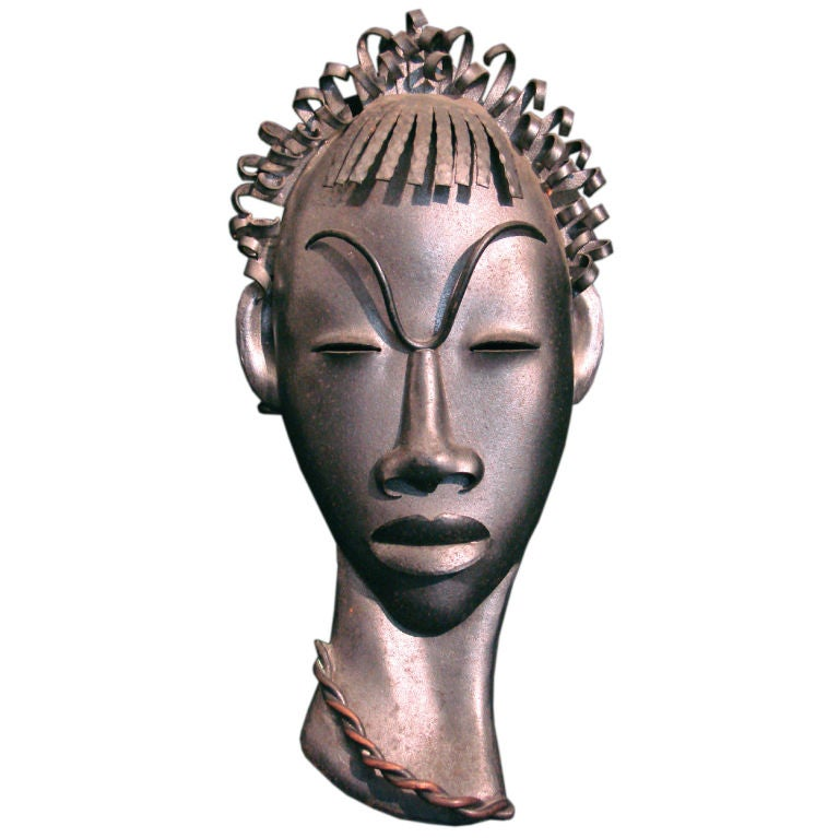 African Head Very Fine Art Deco Wall Sculpture by