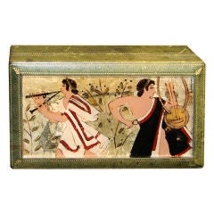 Rare Italian Art Deco Eglomise Box with Classical Figures