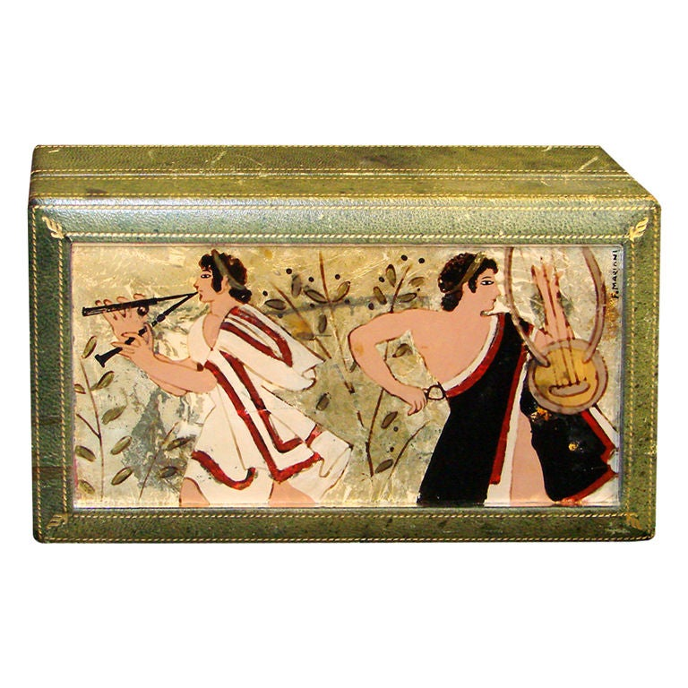 Rare Italian Art Deco Eglomise Box with Classical Figures For Sale