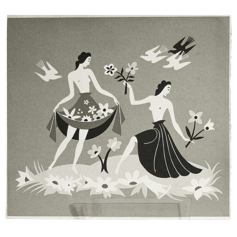 """Spring,"" Brilliant Silkscreen Art Deco Print by Szoeke For Sale"