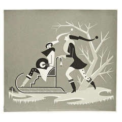 """Winter,"" Brilliant Silkscreen Art Deco Print by Szoeke"