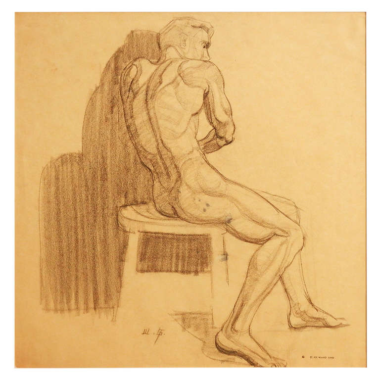 """Seated Male Nude,"" Superb Art Deco Drawing by Waano Gano For Sale"