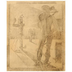 """Nude with Totem Pole,"" Rare Surrealist Drawing by Dunbar Beck"
