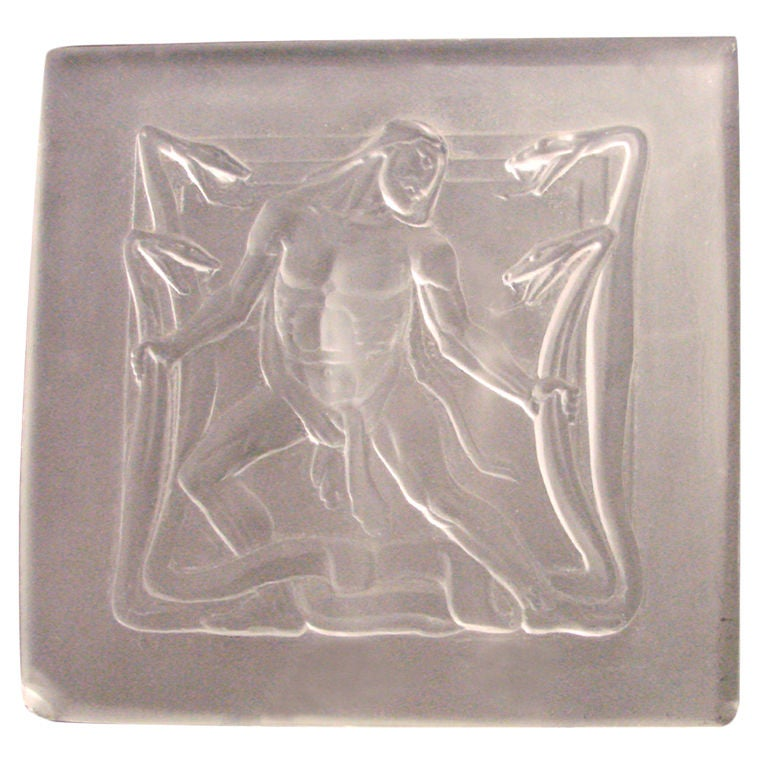 Rare art deco glass panel with hercules and hydra in bas
