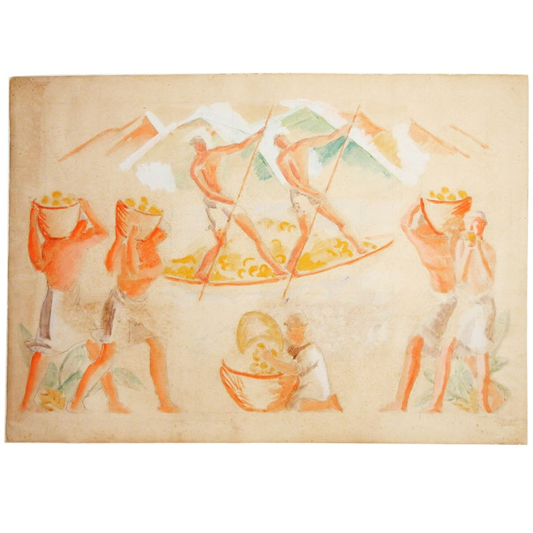 Important Art Deco Mural Study for Tivoli Gardens, Copenhagen For Sale