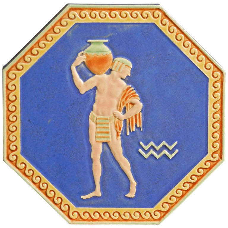 """Egyptian Water Carrier,"" Large, Rare Art Deco Tile with Nude Male"