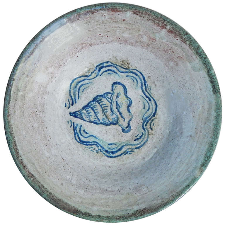 Important Art Deco Ceramic Bowl with Trumpet Shell by Linn L. Phelan For Sale