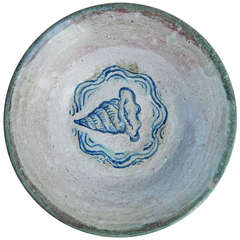 Important Art Deco Ceramic Bowl with Trumpet Shell by Linn L. Phelan