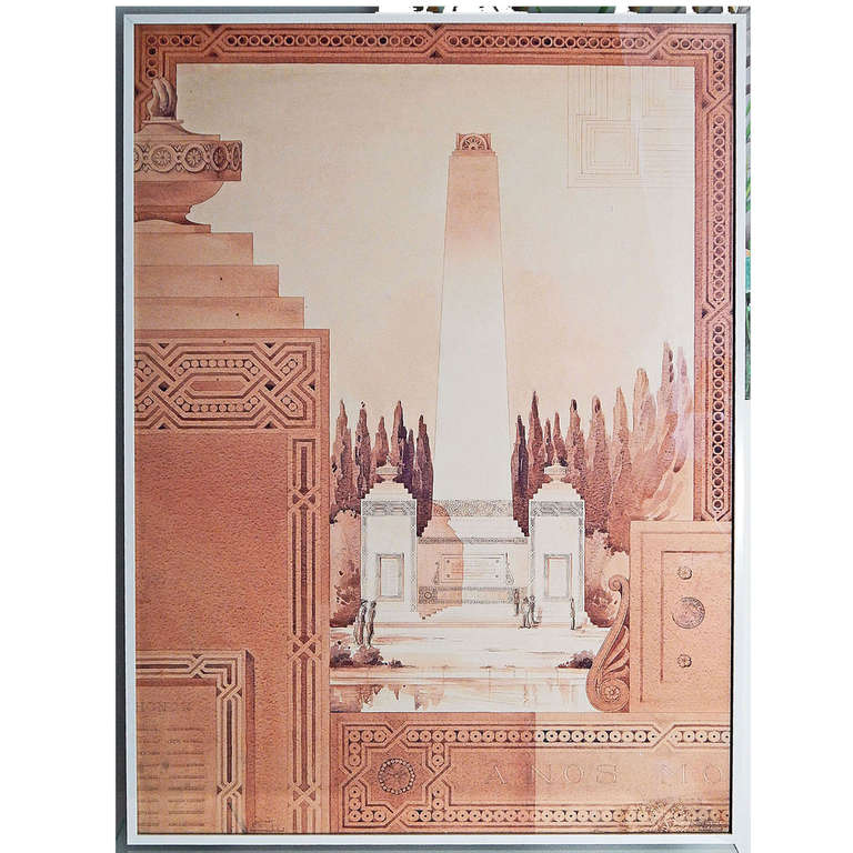 A Memorial Shaft Large Art Deco Architectural Rendering By Seibert 1930