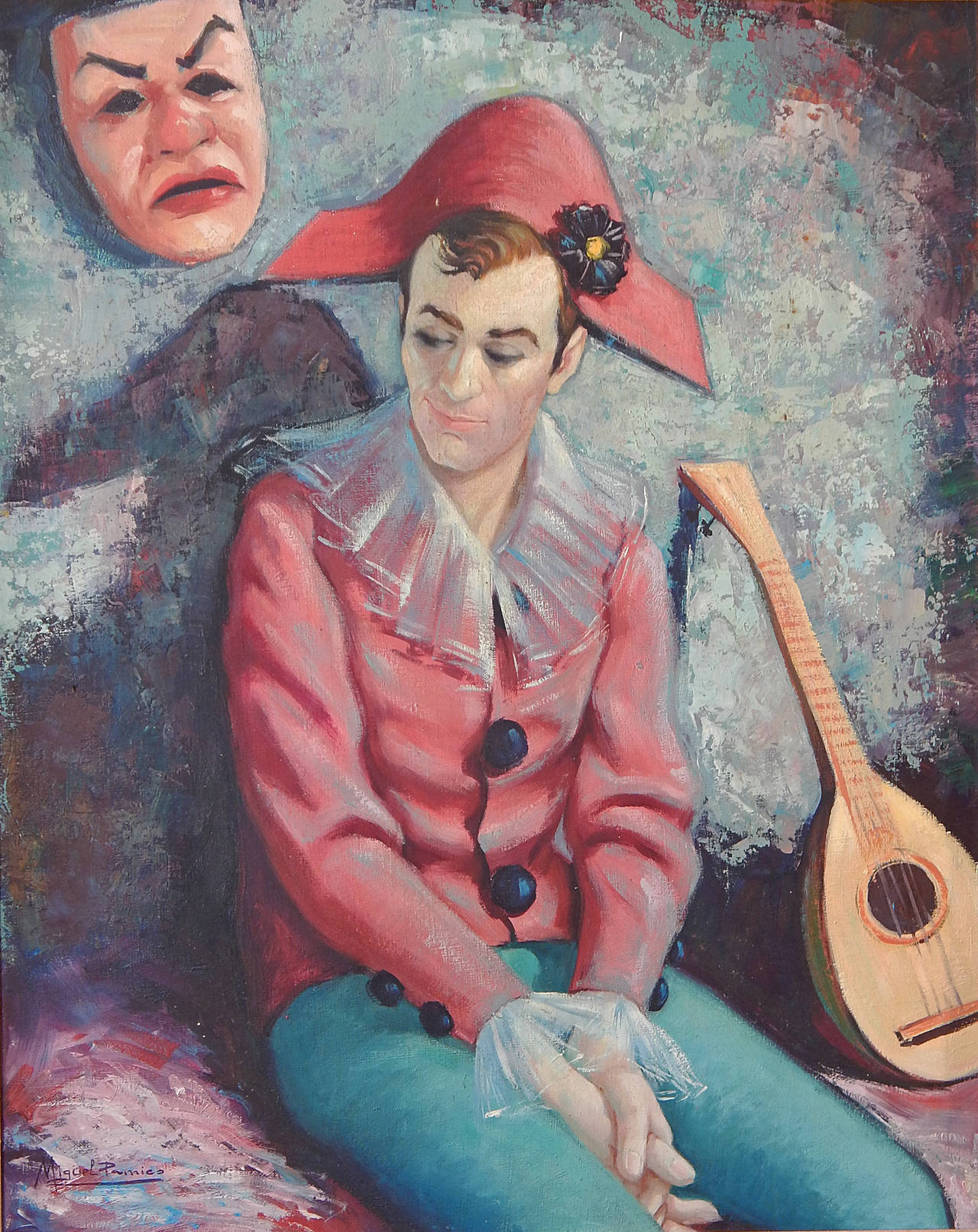 Making liberal use of brilliant colors, dominated by grey-blue and deep pink, this painting depicts a seated harlequin/musician figure with a faint, knowing smile, contrasting with the mask of tragedy hanging on the wall to one side. The halequin's