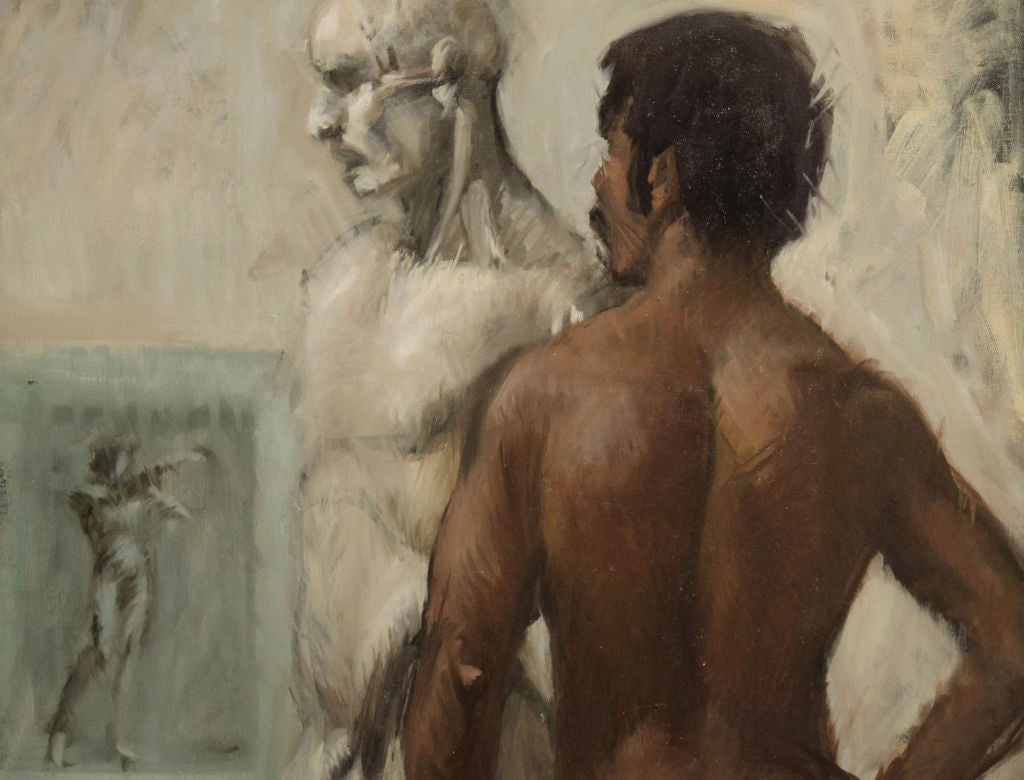 This large and important portrait contrasts a modern African American male nude with two other figures in an artist's studio: a life-size plaster sculpture and a drawing tacked to the wall. Isaacson was known for his figural painting, and this
