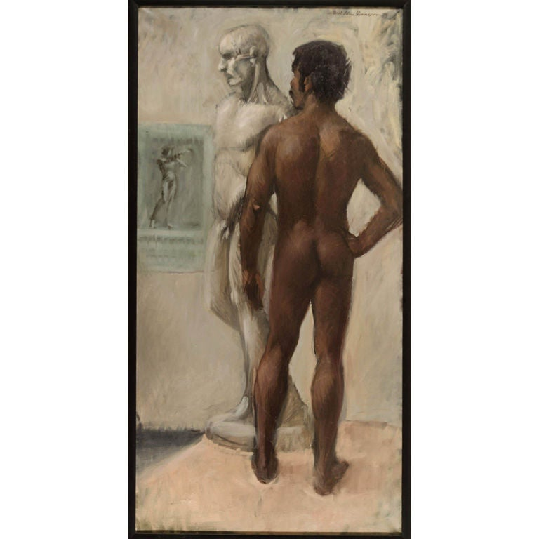 """""""Black Male Nude with Sculpture"""" by Mark Allen Isaacson For Sale"""