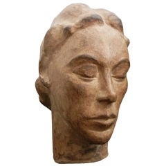 """Woman's Head,"" Art Deco Sculpture by Fenton, 1930s"