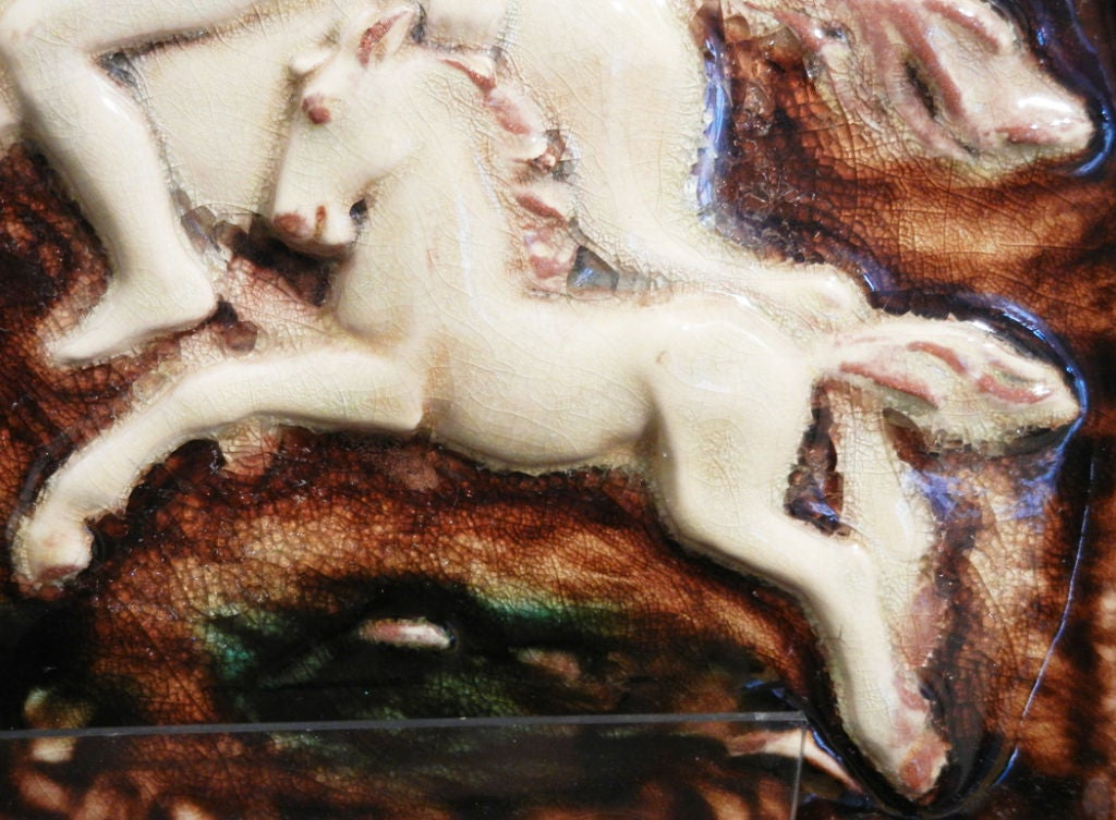 20th Century Important Art Deco Tile Panel with Nude on Horseback For Sale