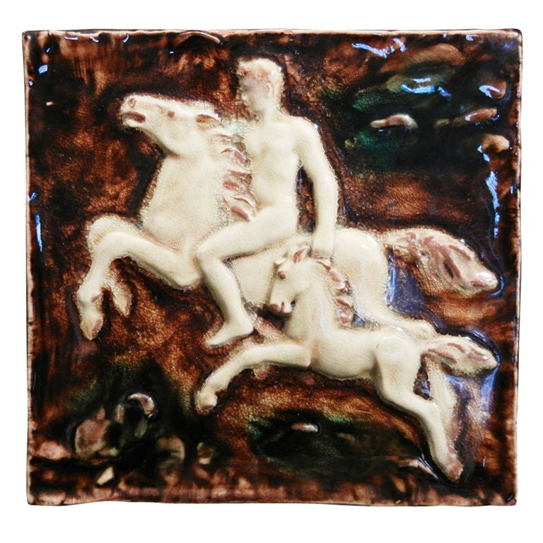 Important Art Deco Tile Panel with Nude on Horseback For Sale