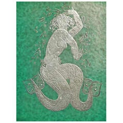 """Dancing Mermaid,"" Rare Art Deco Panel by Kage for Gustavsberg"