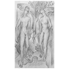 """Adam and Eve,"" Early Art Deco Drawing by Glidden Parker"