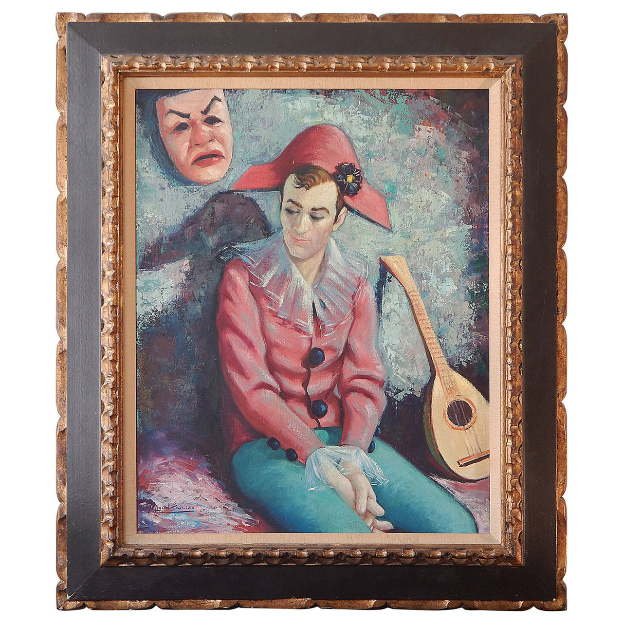 """""""Harlequin with Lute and Mask,"""" Brilliantly-Hued Midcentury Painting by Pamico For Sale"""