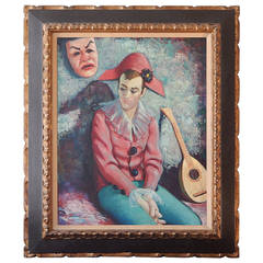 """Harlequin with Lute and Mask,"" Brilliantly-Hued Midcentury Painting by Pamico"