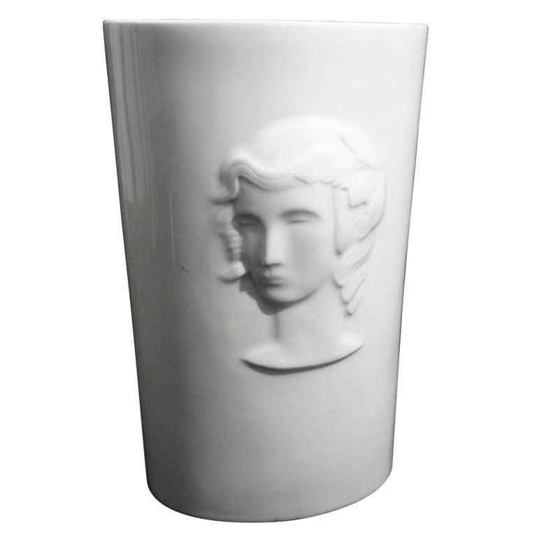 Art Deco Vase with Relief of Woman's Head by De Vegh