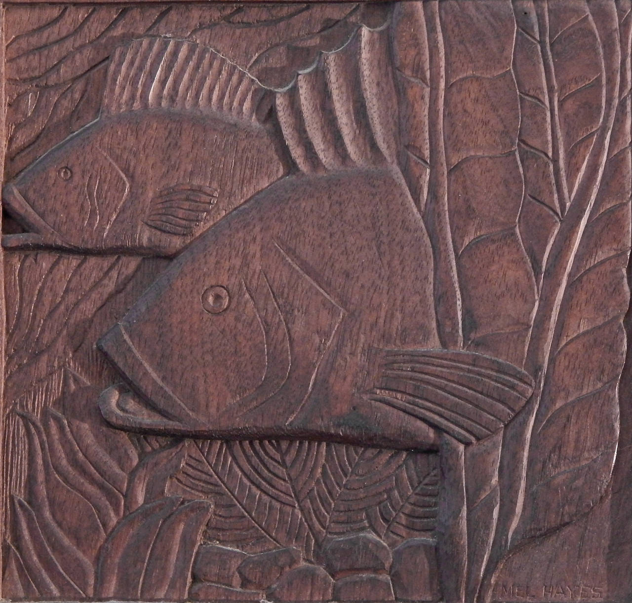 Fish And Seaweed Art Deco Bas Relief Panel Sculpted Walnut Image 2
