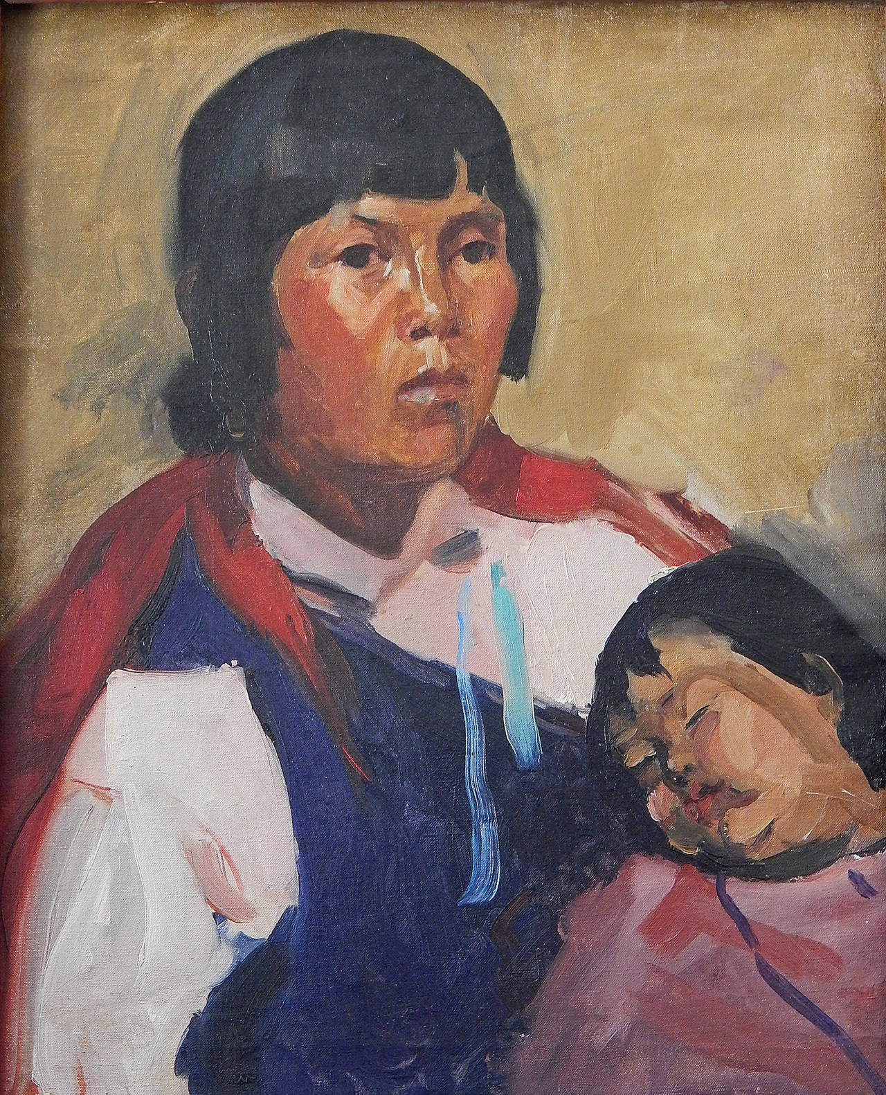 A magnificent example of her work, this portrait of a Navajo woman and her child has all the hallmarks of Martha Walter's mature work, confident and bold brushwork, vivid colors, and an ability to bring life and dignity to her subject. Walter is