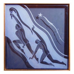 """""""Torchbearers,"""" Art Deco etched glass panel with Nude Males"""