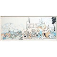 """""""Mother Goose Nursery Rhymes,"""" Superb Art Deco Ink & Watercolor"""