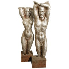 Male and Female Nude Sculptures by Waylande Gregory