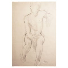Master Drawing of Nude Male Figure, 1947