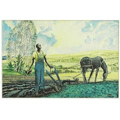 """Plowing at Sunrise,"" Art Deco Paean to the Black Farmer, 1930s"