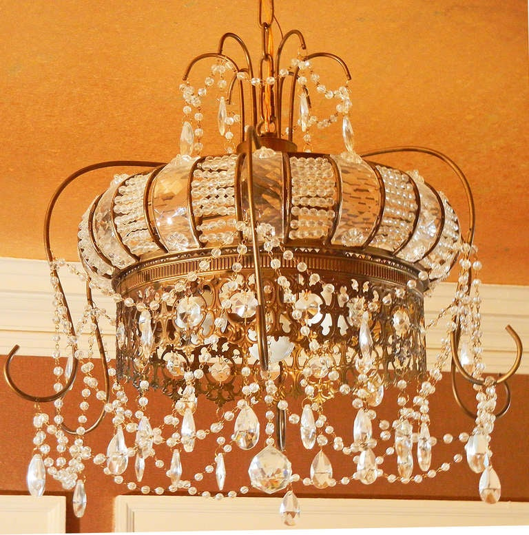 Rare belle epoch chandelier in form of crown crystal and brass image