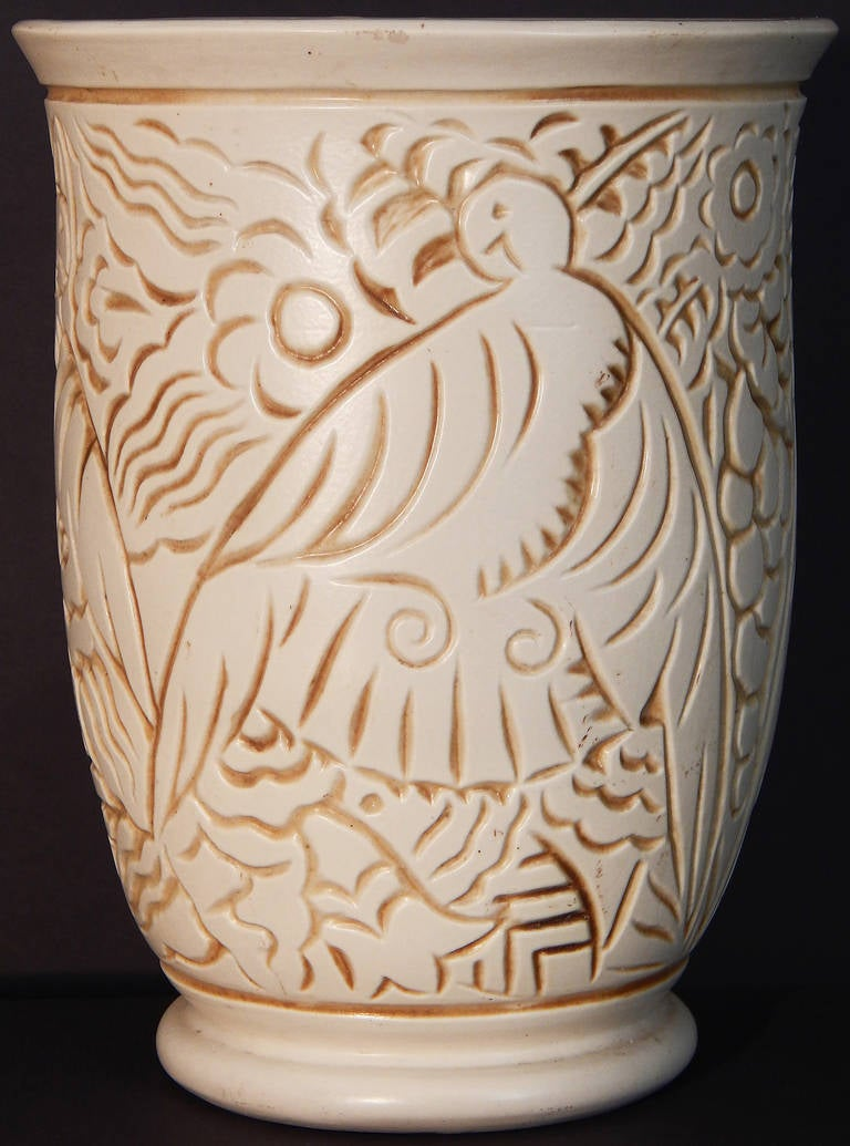 French Superb Art Deco Vase with Tropical Bird Motif, George Condé for Mougin, France For Sale