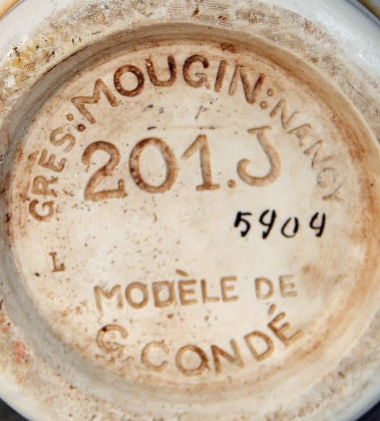 Ceramic Superb Art Deco Vase with Tropical Bird Motif, George Condé for Mougin, France For Sale