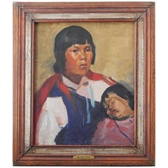 """Navajo Mother & Child,"" Painting by Martha Walter with Handmade Frame"