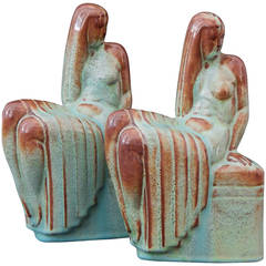 Rare Art Deco Bookends with Female Nudes by Chester Nicodemus, 1940s
