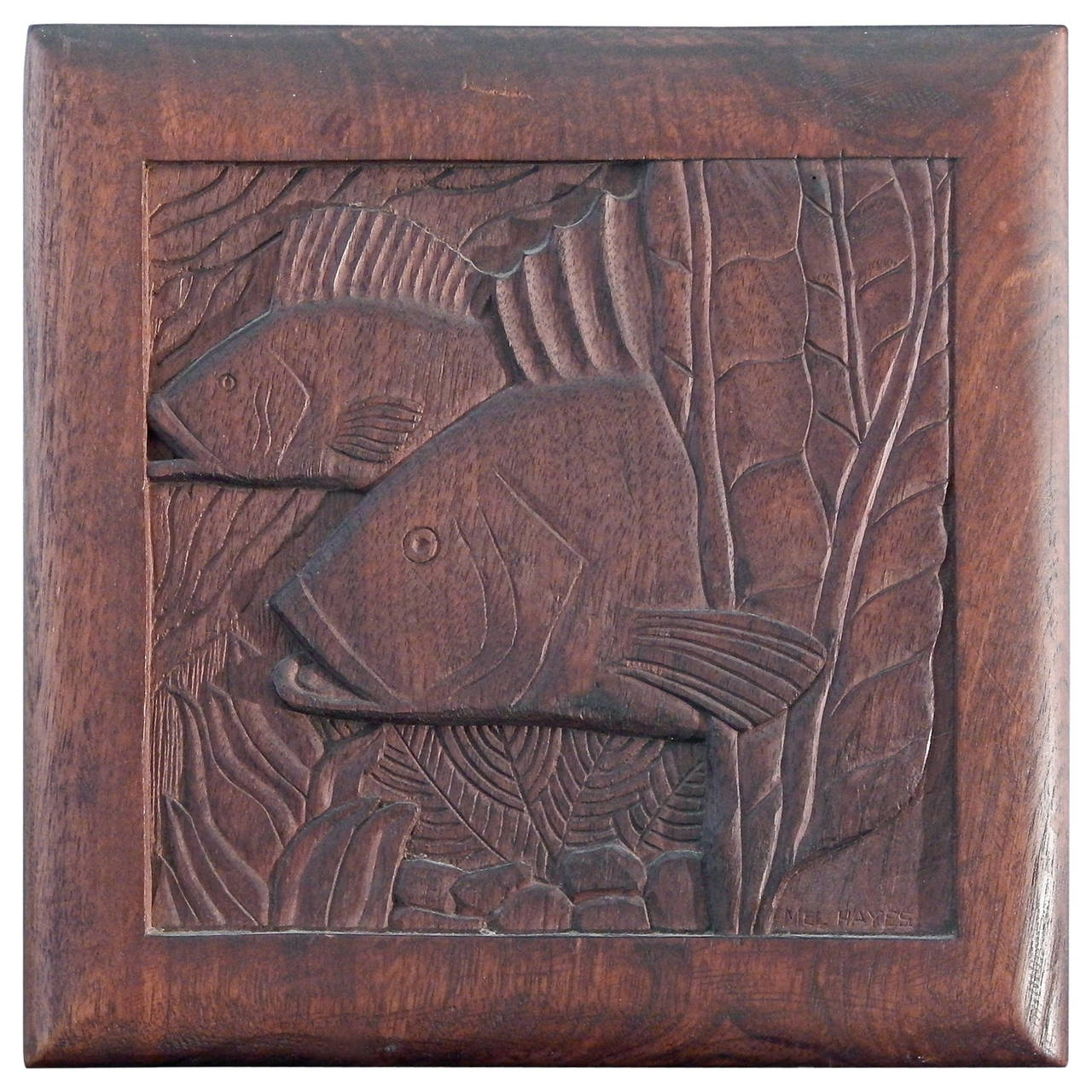 Fish And Seaweed Art Deco Bas Relief Panel Sculpted Walnut At
