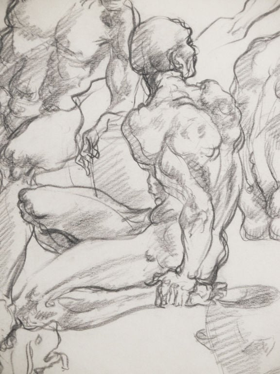 The cluster of knotty male nudes depicted in this high-energy drawing by Ben Messick illustrates his mastery of mural painting and animation. He worked as a sketch artist at the Disney Studios in the 1940s, and painted several WPA murals in the Los