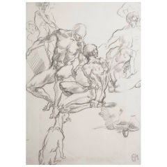 """Multiple Male Nudes,"" drawing by Ben Messick"