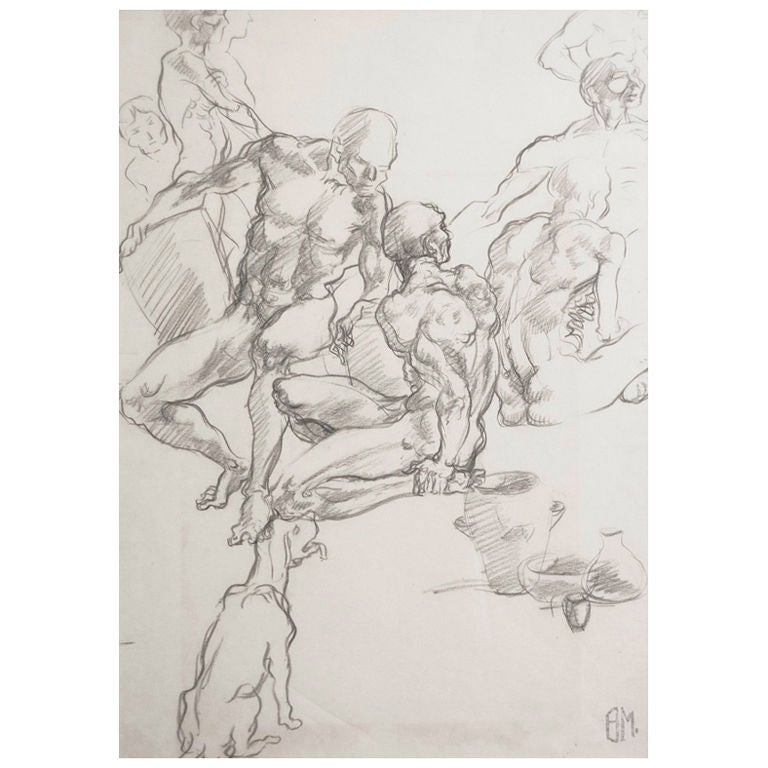 """""""Multiple Male Nudes,"""" drawing by Ben Messick For Sale"""
