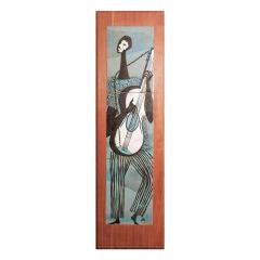 """Guitar Player,"" mid-century enamel panel on walnut"