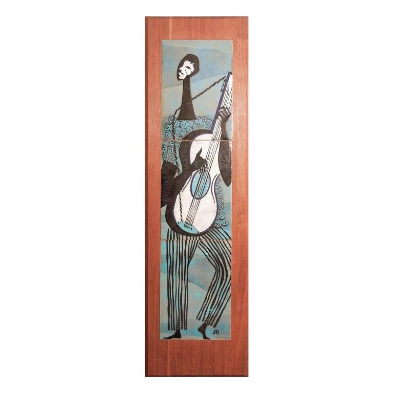 """Guitar Player,"" mid-century enamel panel on walnut For Sale"