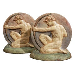 Rare Art Deco Bookends by Compton Pottery with Nude Male Archer