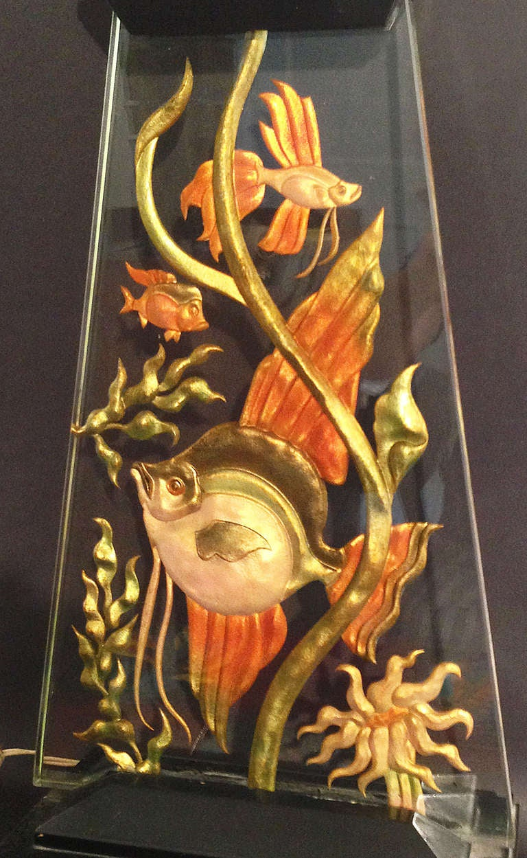 """Life Undersea,"" Highly Rare, Eglomise Art Deco Lamp, Internally Lit 3"