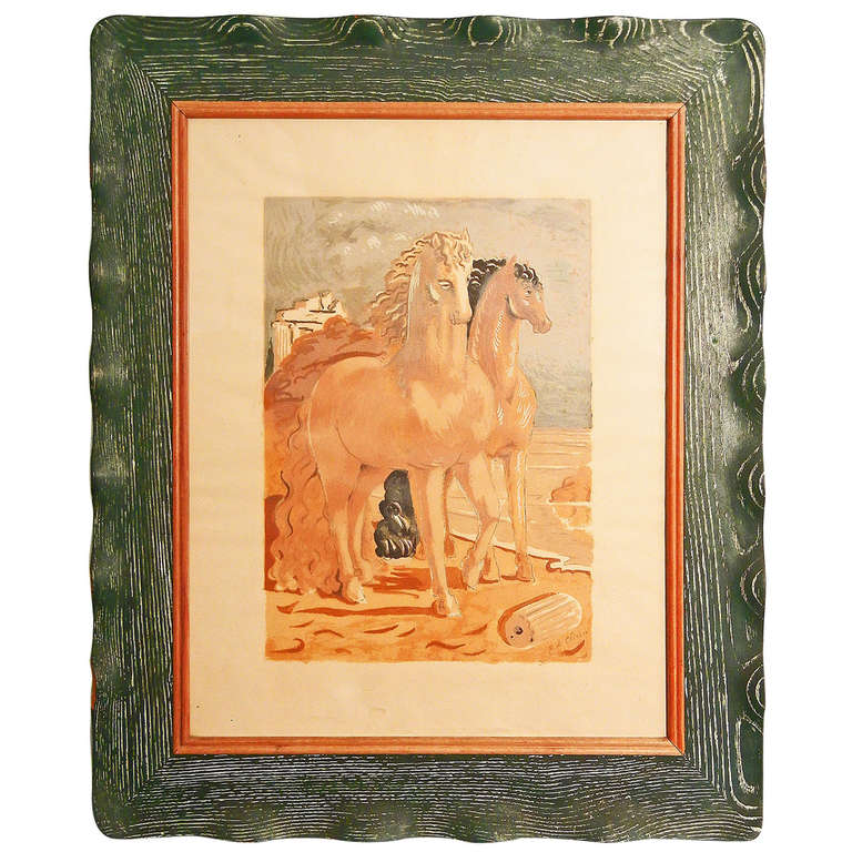 """Horses on the Shore,"" De Chirico print with Original Cerused Frame"