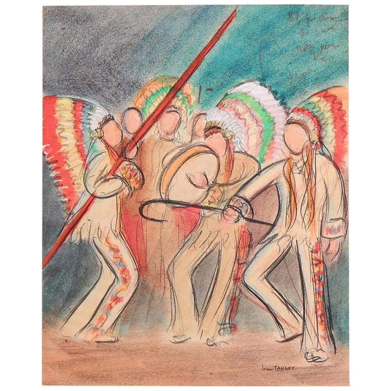 """""""American Indian Dance,"""" Art Deco Drawing by Jean Target, 1930s"""